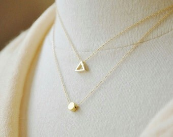 Gold Triangle Necklace - Dainty Necklace, Layering Necklace, Triangle Outline, Minimal Jewelry, Everyday Jewelry, Tiny Triangle, Geometric