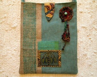Tribal Nomad Hippie Upcycled Coffee Eco Friendly Crossbody Bag
