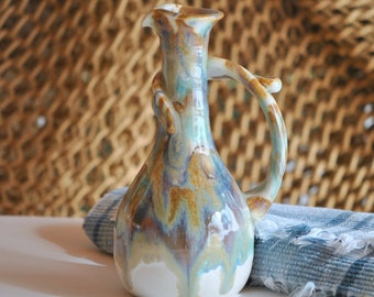 Pottery Cruet wheel thrown stoneware in Tricolor Glaze