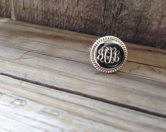 Monogram Ring Sterling Silver - Mother's Day, Christmas Gift, Graduation or Bridesmaid Gift