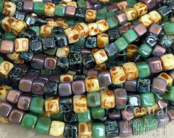 Czech Glass 6/0 (4mm) Cubix Cube Beads (50) 1 Strand - Opaque Rustic Summer Aged Picasso Bohemian Mix - Central Coast Charms