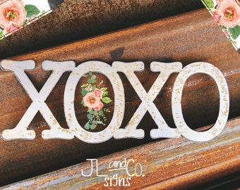 XOXO hugs and kisses Industrial Metal Sign  Decor by Junk Love and Co