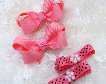 Set of Hair Clippies and Mini Boutique Hair Bows
