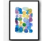 Original watercolor painting - dots painting - abstract painting -abstract watercolor purple blue dots
