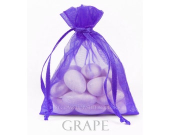 30 Bright Grape Purple Organza Bags, 6 x 9 Inch Sheer Fabric Favor Bags, Ultraviolet