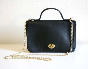Black Coach Satchel with Gold Chain Strap