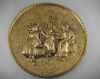 Brass Dutch Scene Wall Hanging Plaque Made in England