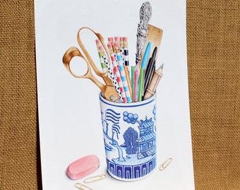 "Chinoiserie Desk Vignette Fine Art Print 8""X10"" Limited Edition"