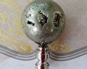 Very Large Natural Pyrite Sphere Gemstone Chrome Base Lamp FInial