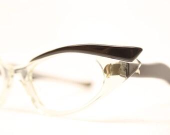 Brown Clear Pointy Fade cat eye glasses vintage cateye frames eyeglasses Unused
