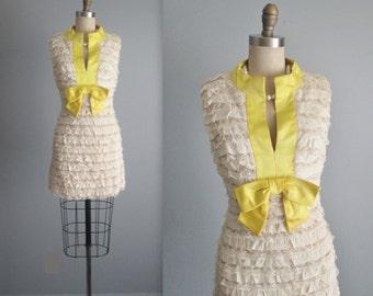 60's Mini Dress // Vintage 1960's Ruffled Lace Cocktail Party Mod Mini Dress XS