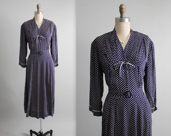 40's Dress // Vintage 1940's Navy Printed Rayon Day Dress L XL Volup Plus Size