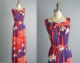STOREWIDE SALE Vintage Hanae Mori Dress // Vintage 70's Japanese Designer Signed Red Blue Floral Print Maxi Dress M L