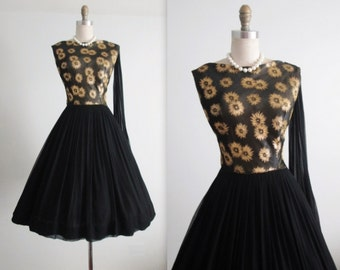 50's Dress // Vintage 1950's Gold Starburst Black Chiffon Brocade Cocktail Party Dress L