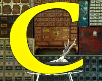 Vintage Marquee Sign Letter Capital 'C': Very Large Yellow Wall Hanging Initial -- Industrial Neon Channel Advertising Salvage