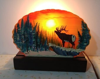 Vintage Hand Painted TV Lamp Buck At Sunset Mid Century Retro