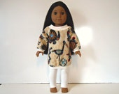 18 inch Doll off the shoulder Tribal Print long shirt white leggings outfit set bird turtle turquoise tan