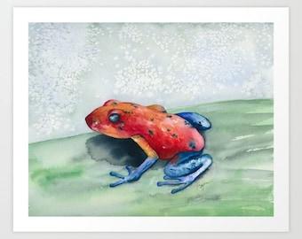 Watercolor Painting - Blue Jean Poison Dart Frog - Art Print