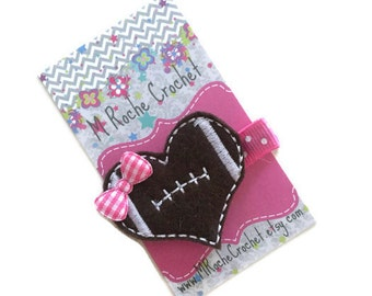 Football hair clip, football felt clip, football hair bow, football party, football gift, baby hair clip, toddler hair clip, baby barrettes