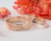 Rose Gold Ash Wedding Bands: A Set of his and hers 9k Rose Gold wedding rings
