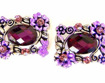 Sparkly purple 2 hole beads, rectangular faceted glass, bridal jewelry slider beads, qty 2