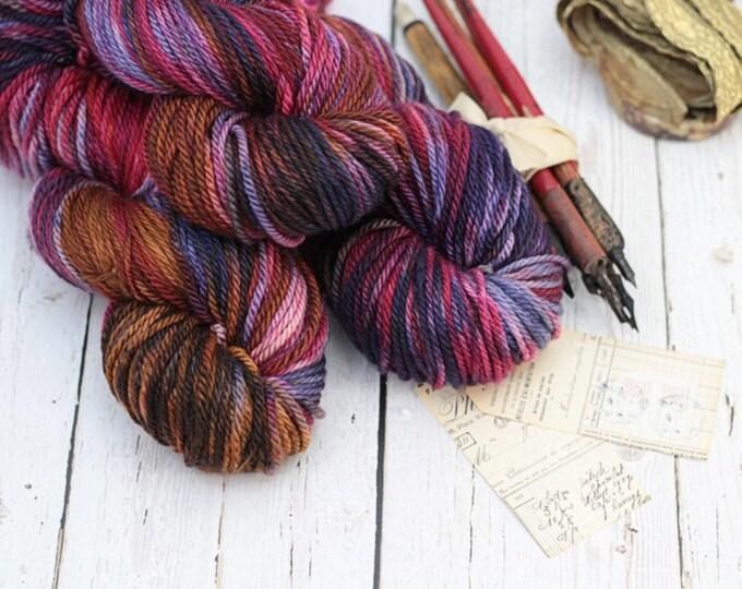 "Hand dyed Yarn Superwash Merino Clover Worsted ""Tapestry"" Swoon Fibers"