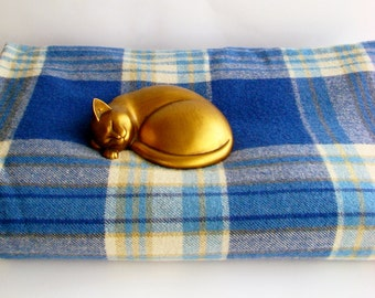 Pure Wool Blanket, Royal Blue, Check Blanket, Checked Blanket, Made in Australia, Double Bed Laconia,