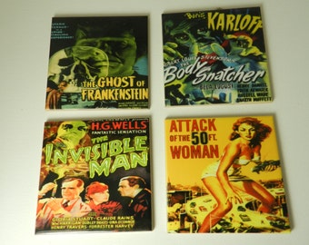 Horror Coasters Vintage  Movie Ceramic Tile Drink Coaster Set Body Snatcher 50 ft Woman Assorted Old Horror Poster Decorative Coasters