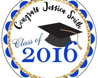 graduation stickers, custom gold graduation stickers, blue and gold graduation stickers, class of 2016 stickers, personalized grad stickers