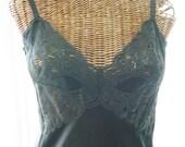 Vanity Fair Four Gore Full Dress Slip Black U.S.A. Made 1970's Size 38 Long / Tall