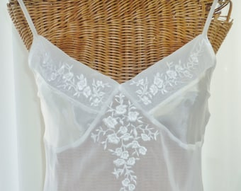 Jones New York White Nightgown Iridescent Seed Pearls Sheer Chiffon Bodice New Old Stock Size Small