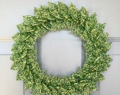 Green Sparkle Blend French Beaded Decorative Wreath (Small)
