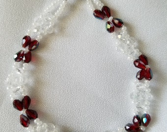 Breaded Garnet and crystal seed bead bracelet