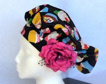 Chef's Hat, Surgical Cap, Cup Cake Print, Adustable, Colorful, Washable