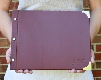 Leather Sketchbook and Custom Art Portfolio with Removable Pages and Screw Post Binding