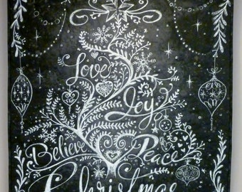Quilted Christmas Tree Wallhanging Spoonflower panel Chalk Board Art