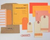 DIY Tag + Embellishment Kit Collection . Orange Set 2 . Planner Scrapbooking Mixed Media Mini Album Midori Travelers Notebook Listers List