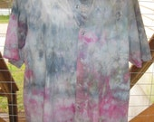 Tie Dye - Ice Dyed - Upcycled-Recycled - Button Up Short Sleeve Shirt - Mens Size Med - Unisex - Multi Color - Ready to Ship - Casual Shirt