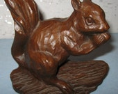 Squirrel by Red Mill / Nut Eating Squirrel / Vintage Resin Squirrel