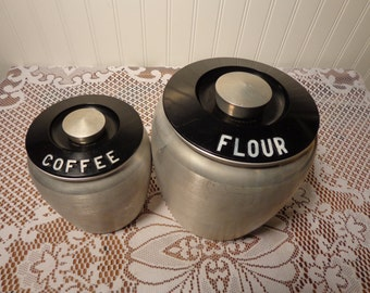 Vintage Kromex Brushed Aluminum Flour and Coffee Canisters - 1950's