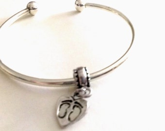 Silver Plaited Bangle with Baby Feet  Euro Charm