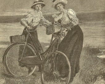 Victorian Ladies and Their Bicycles Original Bookplate from 1881 Chatterbox Detailed Image Ready for Framing
