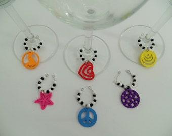 Wine charms,wine glass charms,colourful charms,wood chams,wine glass jewelry,wine accesories