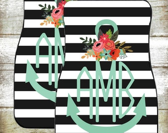 Monogram Car Mats-Car Accessories-Car Mats-Personalized Car Mats-Monograms-Anchor Car Mats-Watercolor Flowers