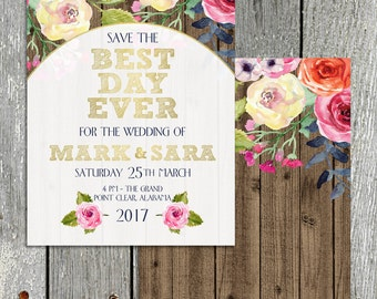 Save the Date-Wedding Shower Invitations-Brunch Invitation-Stationery-Wedding-Save the Date-Paper-Watercolor Flowers-Invitations