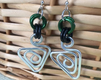 Jamaican Jewelry Wire Wrapped Earrings gold green and black