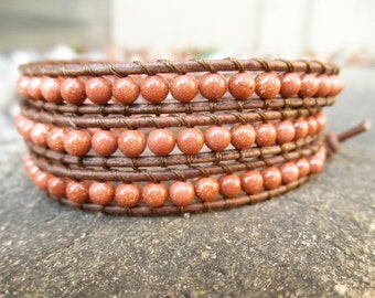 Triple Goldstone and Leather Wrap Bracelet