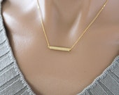 Bar Necklace in Matte Gold/ Silver. Minimalist. Simple and Chic. Collarbone Necklace. Timeless. Gift For Her (PNL- 59)