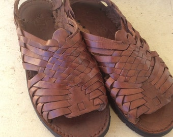 Chunky Brown Woven Buckle Huarache Sandals 80's MEXICO