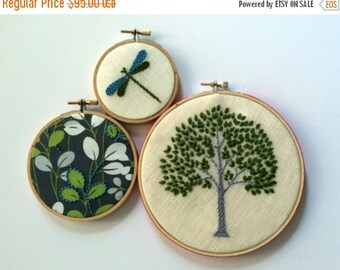 On Sale Tree. Leaves. Dragonfly. hand embroidered. home decor. hoop art. wall decoration. spring green. aqua. gray. botanical. nature. mlmxo
